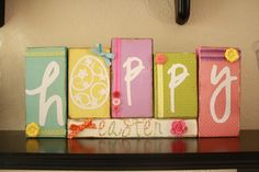 Easter sign made from blocks and Cricut letters - from: Living Craftily Ever After