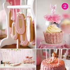 Pink Ballerina Party.  Cute idea for ballet slipper cookies and great way to display them.