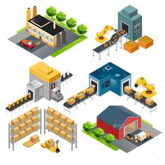 Isometric Industrial Factory Buildings by artisticco A vector illustration of isometric industrial factory buildings