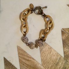 Oia Jules rhinestone pave ball bracelet So cute on it's own or part of an arm party! Some oxidation as photographed on joint rings - otherwise great condition. All rhinestones in tact oia jules Jewelry Bracelets