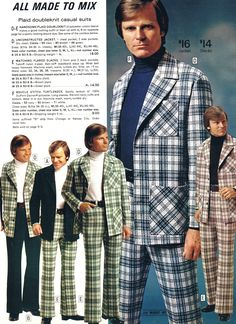 """After the Mad Men era, came Plaid Men. Plaid leisure suits from 1974 """"all made to mix"""""""