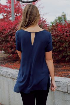 Navy Sheer Chiffon Keyhole Back Top – UOIOnline.com: Women's Clothing Boutique