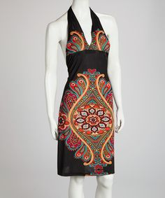 Take a look at the Black Paisley Halter Dress on #zulily today!