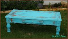Our newest creation! A one of a kind rustic turquoise coffee table!