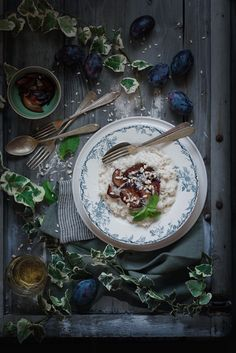 Rice with roasted plums and pine nuts