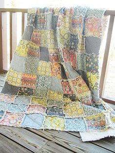 Twin Size Quilt, Rag, Silent Cinema Mix, blue grey yellow, ALL NATURAL, fresh modern handmade bedding-Quilts Bed Twin patchwork blanket eco friendly quilts rag quilt bedding twin size twin quilt twin twin size quilt children silent cinema blue grey yellow bedding, all natural, eco frienly, 100% cotton, handmade