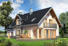 Zdjęcie projektu Heliodor - murowana – beton komórkowy KRD2303 Beautiful House Plans, Beautiful Homes, Design Case, Home Fashion, Floor Plans, Exterior, House Design, Cabin, Flooring