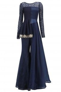 Navy Blue Mirror Work Peplum and Flared Pants Set Western Dresses, Indian Dresses, Indian Outfits, Indian Designer Outfits, Designer Dresses, Indian Designers, Indian Attire, Indian Wear, Asian Prom Dress