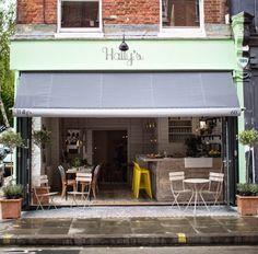 Virlova Interiorismo: [Places] Hally's Café, un encantador deli con aire vintage Box Park, Parsons Green, Beach Cafe, Cafe Style, Al Fresco Dining, Open Up, Places To Go, Brick, Beautiful Places