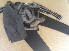 Thomas Sires gray wool db blazer, Everlane Breton and black wool cropped pants…