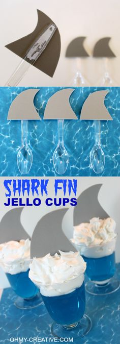 Shark Fin Jell-O Cups for shark or summer theme party theme. These are super cut… Shark Fin Jell-O Cups for shark or summer theme party theme. These are super cute and so easy to make for the kids! Summer Party Themes, Birthday Party Themes, Ideas Party, Beach Party Ideas For Kids, Party Summer, Beach Kids, Birthday Ideas, Summer Food, Beach Themes
