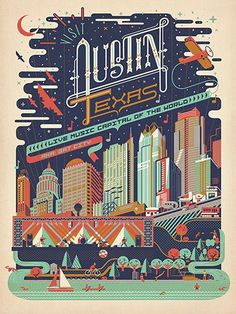 Austin, TX: Mod Print - This whimsical print of the Austin, TX skyline was inspired by a print we created for the Austin City Limits Festival a few years ago. We have reworked the design to celebrate the music, food, outdoor living and night life of this Austin Texas, Austin City Limits, Festival Posters, Concert Posters, Vintage Travel Posters, Poster Vintage, Vintage Advertisements, Framed Art Prints, Wyoming