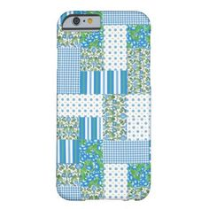 A pretty Slim Case to protect your iPhone 6, with a country style Faux Patchwork of floral, polka dot, striped and check gingham patterns in blue, green and white: part of the Posh & Painterly 'Morning Glory' collection. Up to $47.9 - http://www.zazzle.com/morning_glory_faux_patchwork_iphone_6_case-256569949750945916?rf=238041988035411422&tc=pintw