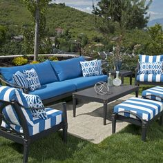 The Sebastian Cast Aluminum Patio Set With Lazy Susan Offers An Entire Coordinating Outdoor Dining In One Simple Clic