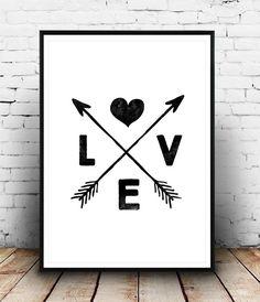 Boho chic decor, love art print, arrows print, black and white wall art Black And White Wall Art, Black And White Drawing, Black White, Love Drawings, Easy Drawings, Art Romantique, Art Amour, Arrow Art, Chicano Love