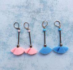 2 Felt Earrings - dangle and drop - lime green and black felt -clip on earrings -long earrings - fabric jewelry- felt jewelry -gift for her by carlaamaro on Etsy