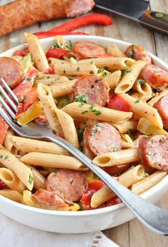 Recipe: Spicy Sausage & Mixed Vegetable Skillet Pasta — Weeknight Dinner Recipes from The Kitchn