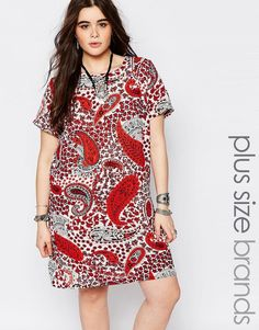 Alice & You Red Paisley Print Cap Sleeve Shift Dress