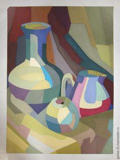 """Купить Натюрморт из трех предметов """"Красочные лоскуки"""" - картина, украшение интерьера, натюрморт, гуашь"""