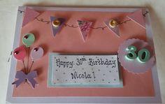 Handmade female 30th birthday card