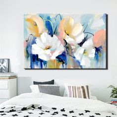 Modern Watercolor Flowers Wall Painting Hand Painted Poppy Flowers Print on Canvas Wall Picture For Living Room Home Decor Gift - Aquarell Malen Canvas Poster, Wall Canvas, Canvas Art, Poster Prints, Canvas Prints, Painting Prints, Canvas Paintings, Art Print, Flower Canvas