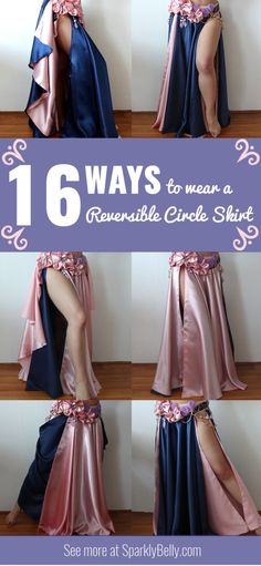 16 ways to wear a reversible circle skirt - SPARKLY BELLY Belly Dance Skirt, Belly Dance Outfit, Tribal Belly Dance, Belly Dancer Costumes, Belly Dancers, Dance Costumes, Cosplay, Renaissance Skirt, Salsa Dress