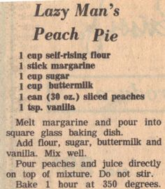 Recipe Clipping For Lazy Man's Peach Pie