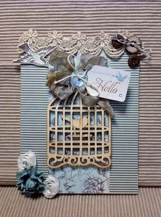 Shabby Chic Card Hello Card Handmade by MyPrettyPaperGifts on Etsy, $8.49