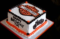 I made this cake for my boss's birthday. One layer of vanilla sponge stacked on top of a layer of chocolat. Bolo Harley Davidson, Harley Davidson Birthday, Dad Birthday Cakes, 50th Birthday, Birthday Celebration, Birthday Ideas, Fireman Cake, Motorcycle Cake, Bike Cakes