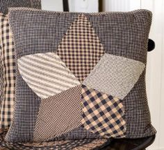 """Country Primitive Farmhouse Star Quilted Toss Pillow Cover 16"""" Rustic Cabin #VHCBRANDS"""