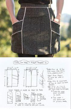 La costura ✂ los Patrones. La falda. Las dimensiones de 36-56 (euros)