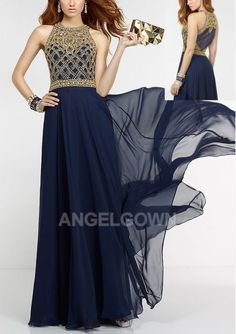 This Chiffon Dress Consisting Of A High Yarn Neckline, A Yarn Back, And A Fully Sequin Bodice - 1540678 - Long Prom Dresses