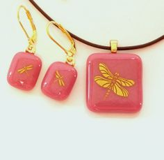 Gold Dragonfly Fused Glass Pendant and Earring Set by GreenhouseGlassworks on Etsy