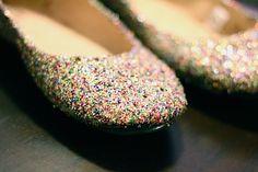 DIY Glitter Flats -- Get crafty by glittering your shoes for cheap! | wearenotmartha.com