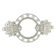 Circa 1930 Art Deco Diamond Brooch by Van Cleef & Arpels | From a unique collection of vintage brooches at https://www.1stdibs.com/jewelry/brooches/brooches/