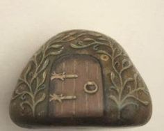 Fairy House rock painting, OOAK, paperweight, gift