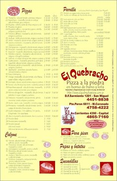 El Quebracho Pizzas Argentina  weather, food, etc in each spanish speaking country