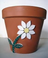 Image result for simple mosaic pots garden