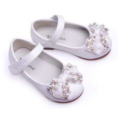 White Beaded Mary Jane Flower Girls First Communion Party Shoes SKU-133092