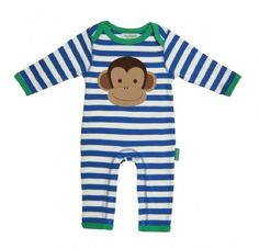 Toby Tiger Monkey Applique Organic Cotton Sleepsuit