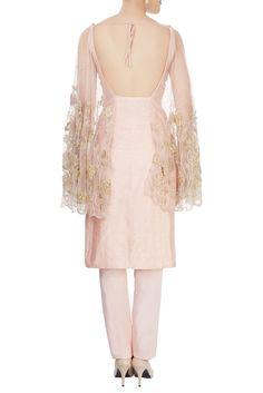 Buy Blush pink winged kurta & trousers by Diya Rajvvir at Aza Fashions Trendy Kurti, Sharara Suit, Satin Material, Women's Fashion Dresses, Blush Pink, Cold Shoulder Dress, Trousers, Indian, Couture