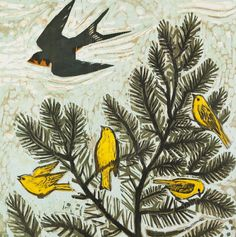 """Warblers Watching, 24"""" x 24"""" color woodcut by Kent Ambler"""
