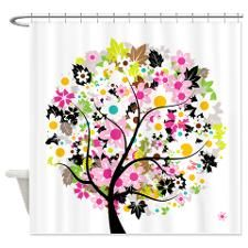Whimsical Pinks Flower Tree Shower Curtain