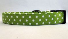 This lime green with white polka dot dog collar would look good on any dog! Get your pup one today!