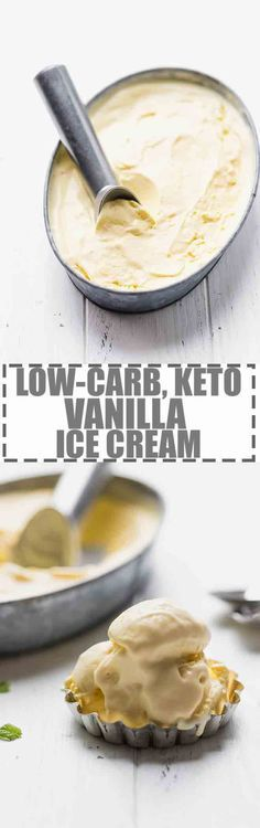 Low-Carb, Keto Ice Cream Recipe - custard based vanilla ice cream, made with a few simple ingredients and churned in an ice cream maker. Perfect for summer. Sugar and gluten-free. #keto #lowcarb #ketogenic #icecream via Cooking LSL