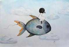 """""""First illustration flying into 2016 - done  (size: A4) #illustration #watercolor #watercolour #akvarel #pen #paper #painting #sky #clouds #fish #blackbird #mask #masked #girl #flying #surrealism #surreal #dreamillustration #art #artwork #fishhook"""" by tm.illustration"""