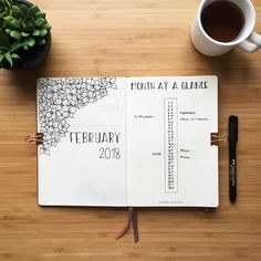 Bullet journal monthly cover page, February cover page, flower drawings, monthly calendar, linear calendar, vertical calendar. | @bulletjournalzurich