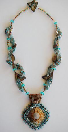 ~~Bead Weaved Necklace | uses a variety of stitches including freeform. Peyote, seed beads and a shell focal piece | by LissC~~
