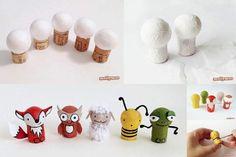 personnage avec bouchon de liège et boule polystyrène Kids Crafts, Biscuit, Wooden Dolls, Painting For Kids, Handicraft, Diy For Kids, Recycling, Place Card Holders, Diy Projects