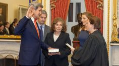 Supreme Court Justice Elena Kagan swears in Secretary of State John Kerry on Feb. They were joined by his wife Teresa, daughter Vanessa and brother Cameron. Elena Kagan, Environmental News, Nbc Nightly News, John Kerry, India And Pakistan, Cnn Politics, Stupid People, Secretary, Business Women